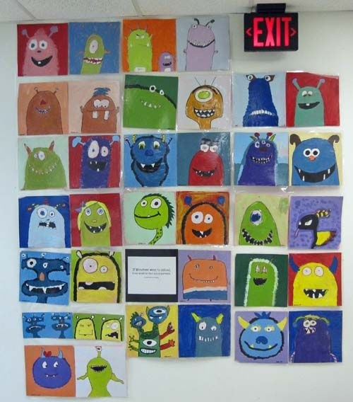 tempera paint monsters or aliens elementary art education lesson project