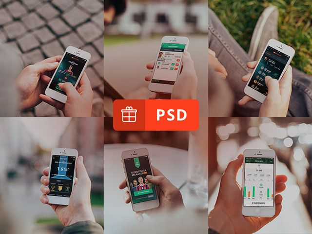 A set of 6 photorealistic iPhone 5 mockups created with Photoshop smart objects. Free PSD released by COBE.