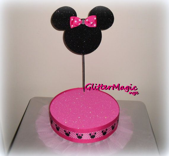 Pink Minnie Mouse Inspired - Cakepop / Lollipop Stand - Display Stand - Minnie Mouse Party - Pink with White Polka Dots - Minnie Mouse Theme on Etsy, $28.50