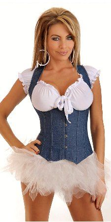 like the denim corset thingy with the tulle shirt and peasanty top