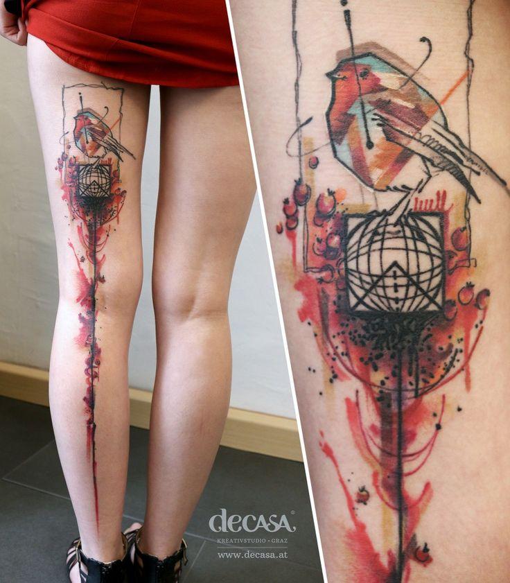 """artist: Carola Deutsch / Titel: """"global Rotkehlchen"""" / Körperstelle: Bein / Entstehungsjahr: 2015 / Material: Tattoofarbe unter Haut"""