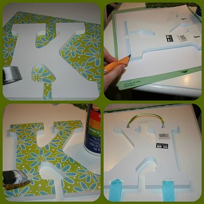 Cover a wooden letter with scrapbook paper or wrapping paper (for the holidays!) for a fun decoration!