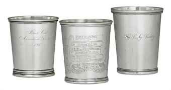 A GROUP OF SILVER JULEP CUPS, MOST MARK OF WILLIAM KENDRICK, LOUISVILLE, KENTUCKY, CIRCA 1840-1880. Each of tapering cylindrical form, with stepped or beaded foot, two plain, one engraved Clark Lodge No. 10, Excelcior Encampment No. 14, with Masoinc symbols, all marked W. Kendrick, Louisville; two marked Peter L. Krider, Standard, retailed by W. Kendrick, Louisville; together with one John Kitts & Co., Louisville, 1836-78,   The largest 4 in.  high; 36 oz. 10 dwt.