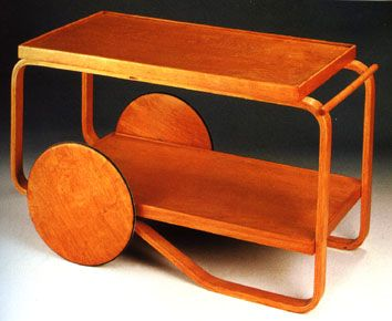 Alvar Aalto and his laminated wood and plywood furniture.