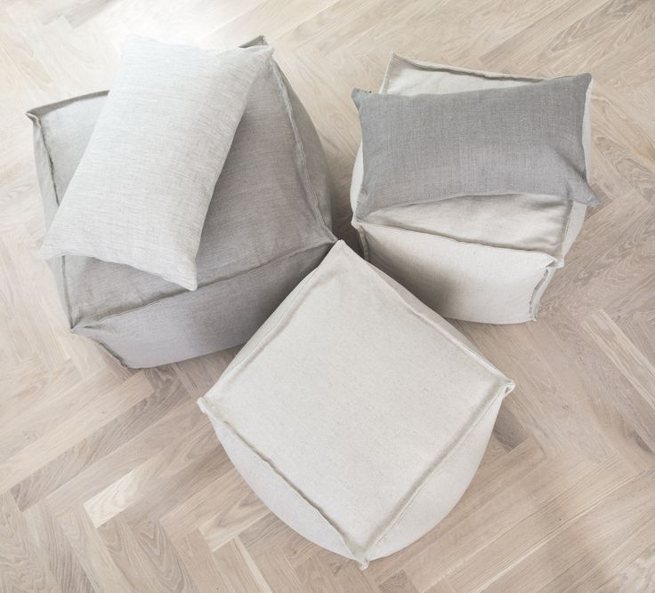 poufs made from natural linen. www.ampracownia.com