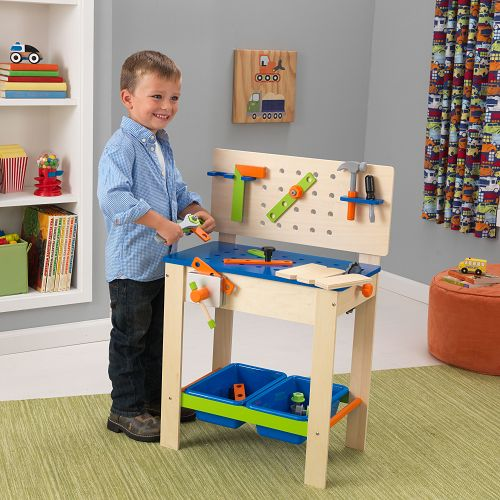 Deluxe Work Bench with tools ~ This deluxe workbench is packed full of fun features that will keep your little DIY enthusiast happy for hours.  He will be kept busy helping out around the house, making use of his pretend buzz saw with its rotating blade, the vice which can be easily tightened and loosened, 4 pretend tools and pretend nuts and bolts.  The tools can be stored in the handy slots or in the two handy storage bins. £89.99