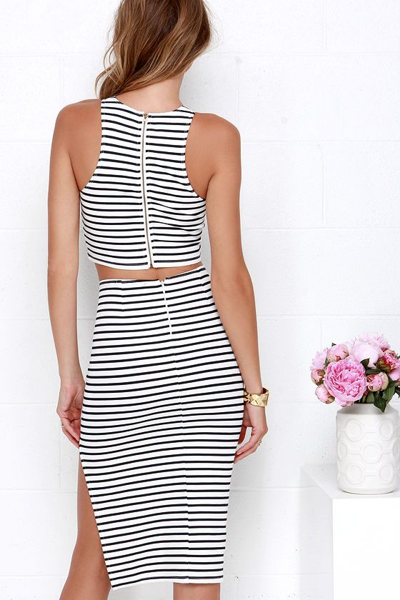 Strike the Match Navy Blue and Ivory Striped Two-Piece Dress at Lulus.com!