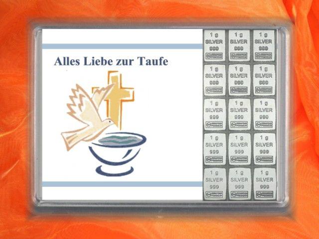 15g Silber zur Taufe mit Glückwünschen und Motiv der Taube und Taufbecken