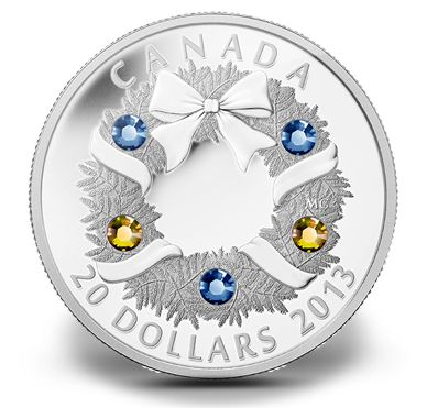 Canadian Mint christmas coin collection. 5 Swarovski elements on $20 Coin