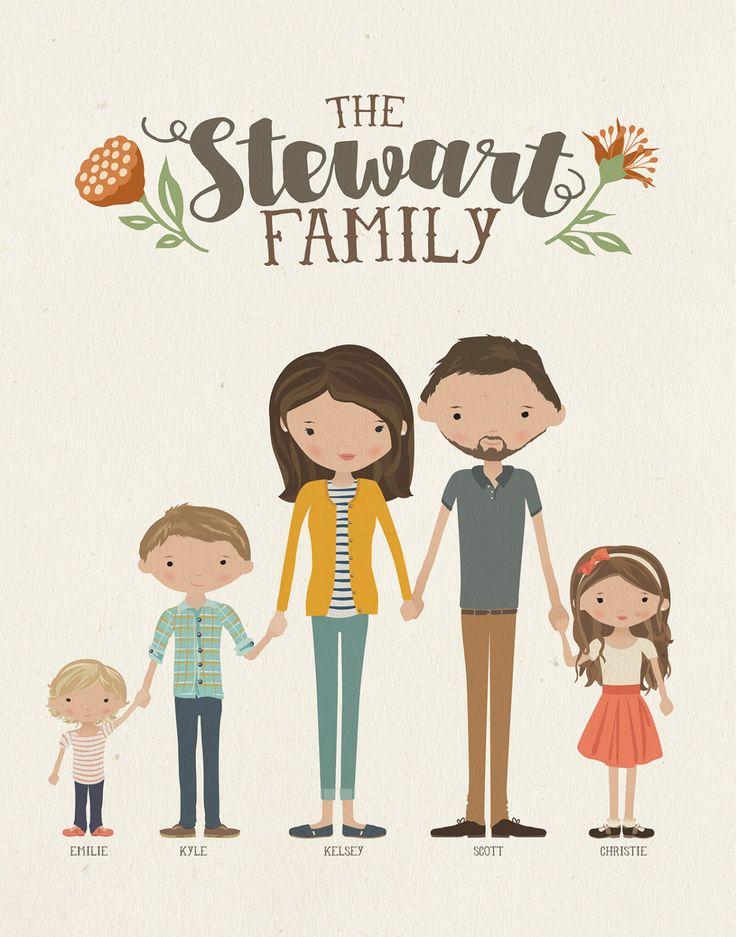 Custom illustrated family portrait customizable print or