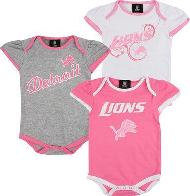 Detroit Lions Infant Pink 3 Piece Creeper Set lions nfl