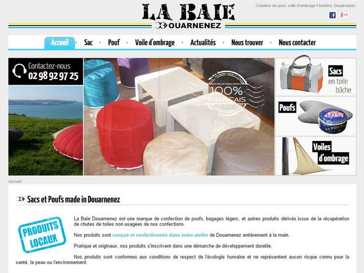 La Baie Douarnenez est une marque de confection de poufs, bagages légers, et autres produits dérivés issus de la récupération de chutes de toiles non usagées de nos chantiers.
