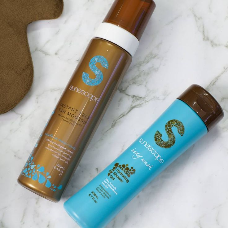 """Eat, sleep, shower, tan, repeat! Transform your skin in an instant with a little help from this power duo! Scented with delicious coconut and vanilla, we're pretty sure the girls will be asking, """"where have you been?"""" #sunescapetan— Products shown: Hydrating Self-Tan Mousse (Week in Fiji) and Hydrating Shower Gel"""