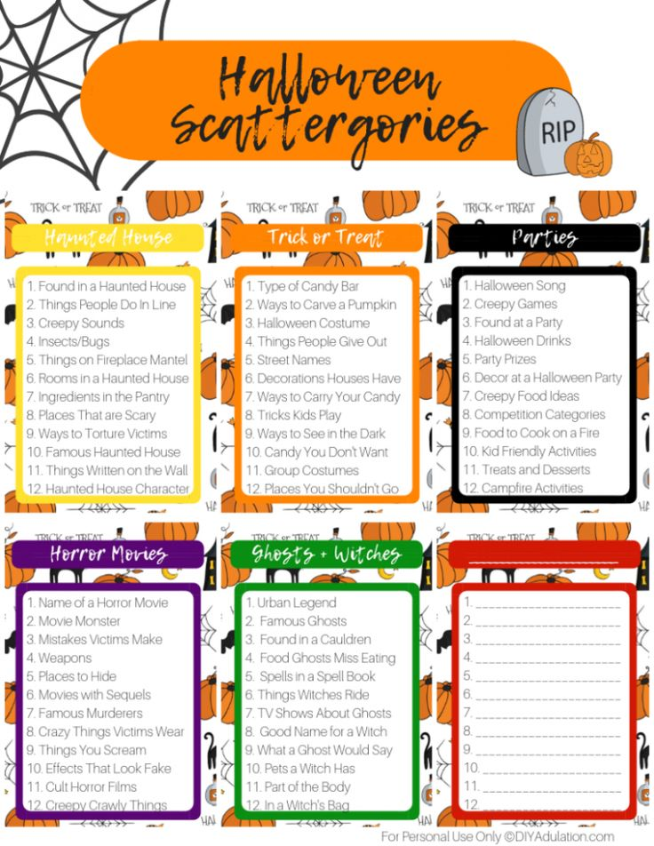 Free Printable Halloween Scattergories Game Halloween