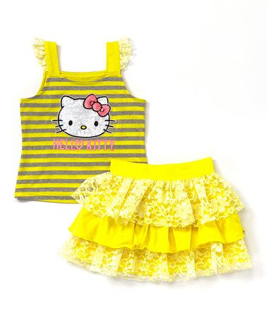 http://www.zulily.com/invite/kripley070 Loving this Yelllow Hello Kitty Tank Top & Skirt - Toddler & Girls on #zulily! #zulilyfinds