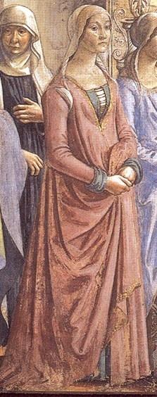 Domenico Ghirlandaio, 1486-90, The Birth of Mary (detail) Cappella Tornabuoni, Santa Maria Novella, Florence