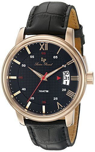Lucien Piccard Men's 'Amici' Quartz Stainless Steel and Black Leather Casual Watch (Model: LP-40019-RG-01) | MyPointSaver