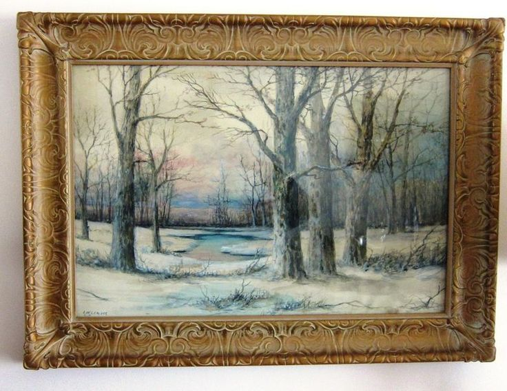 "Original signed watercolor and gouache by Benjamin William Leader R.A. (Royal Academy) 1831-1923, winter scene, 21.5""T x 29""w framed, image is 16""T x 23""W, custom framed in carved, gold painted wood. Ipswich Welsh cupboard base from Hitchcock furniture, solid oak, 3 drawers, turned legs, dovetail construction, brass hardware."