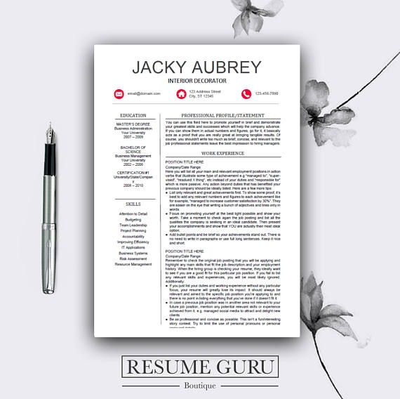 BUY ONE GET ONE FREE! ► Add 2 Resumes to your cart and use code PAY1GET2 at checkout Browse more designs here: www.etsy.com/shop/ResumeGuruBoutique Hello and welcome to my shop! My name is David, digital template designer and I am the owner of the Resume Guru Boutique My goal