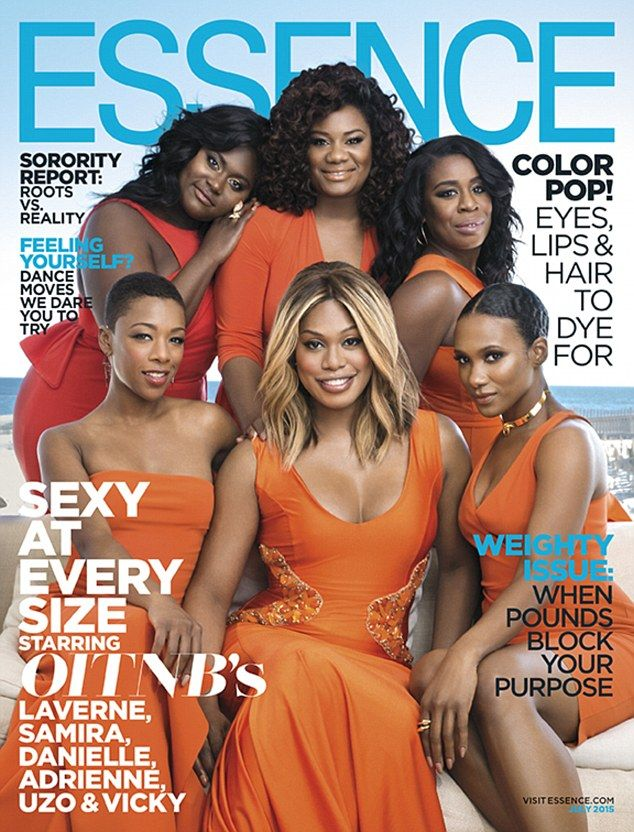 Day release:Laverne Cox and her Orange Is The New Black co-stars Uzo Aduba, Danielle Brooks, Vicky Jeudy, Adrienne C. Moore and Samira Wiley on the cover of Essence Magazine