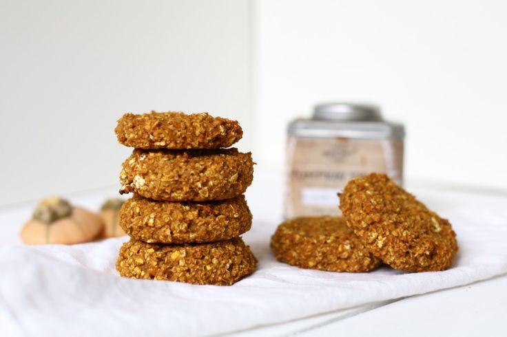 Havermout ontbijt koekjes met pompoen, Glutenvrije koekjes, Suikervrije koekjes, Sugarfree baking, Herfst koekjes, Herfst recepten