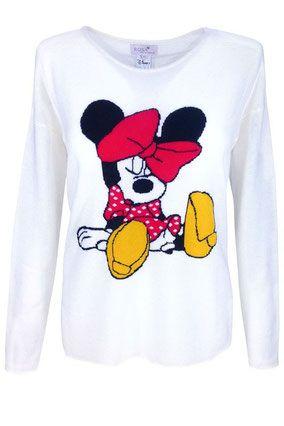 Rosa von Schmaus Cashmere Pullover Minnie Maus weiss