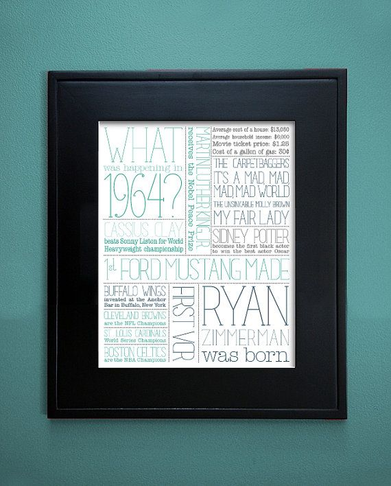 1964 Birthday Gift Print by TessaMcRae on Etsy, $20.00