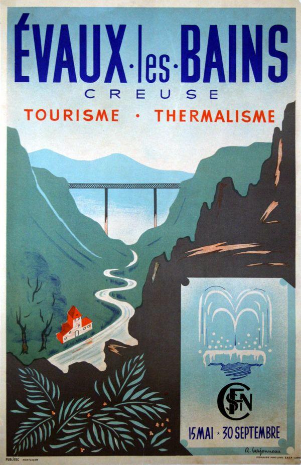 France - Evaux les bains - Creuse - 1930 - illustration de R.Berjonnay