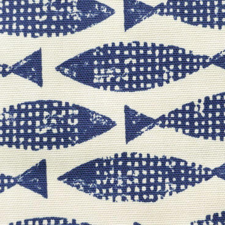 tissu au mètre imprimé poissons bleus : Tissus Ameublement par atelier-clair-obscur