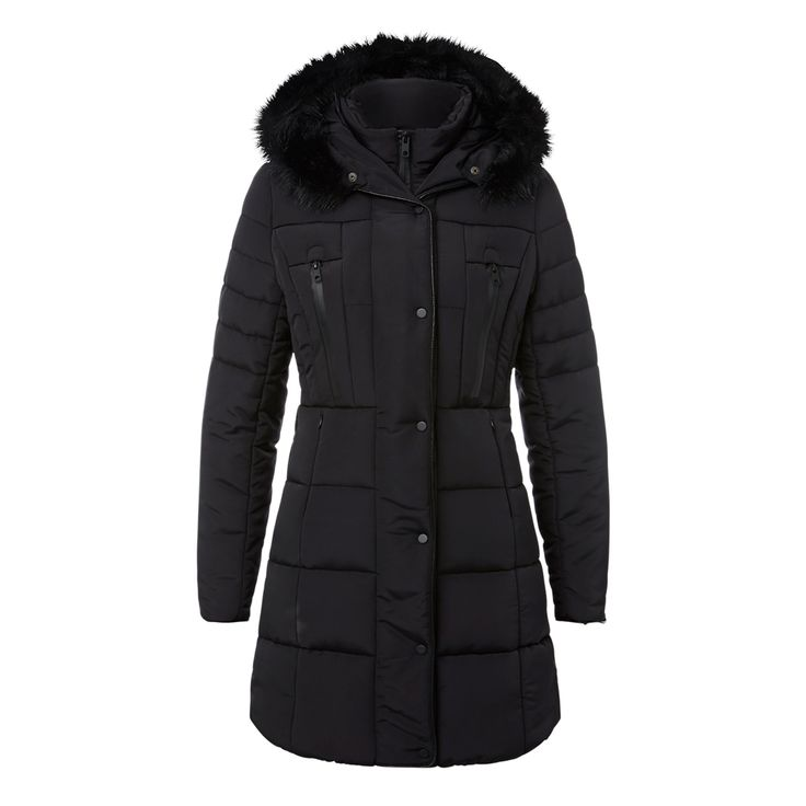 This versatile parka is made in a comfortable fitting style with a warm quilted body and detachable fur hood. Features zip pockets and a front zipper opening. Made from polyester, available in sizes 6 to 14.