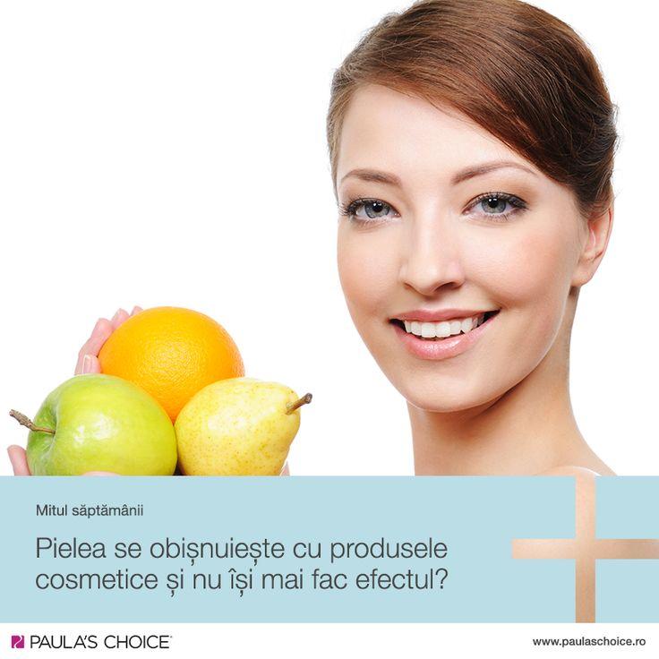 Pielea nu se obișnuiește cu produsele cosmetice așa cum corpul nu se obișnuiește cu o dietă sănătoasă! Spanacul și strugurii fac parte dintr-o dietă sănătoasă și vor continua să fie așa, indiferent că sunt consumați în fiecare zi, din copilărie până la bătrânețe. Același lucru este valabil și pentru piele: atâta timp cât sunt alese produse cu ingrediente potrivite (și evitând surse externe negative precum expunerea la soare), acestea vor fi benefice indiferent de perioada aplicată.