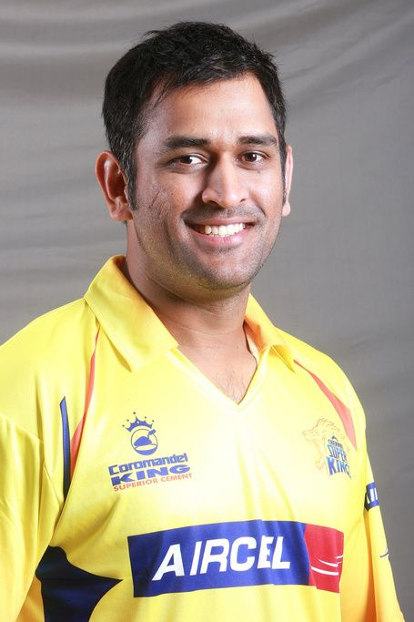 CSK of IPL's Captain MS Dhoni gives a pose for head & shoulder portrait