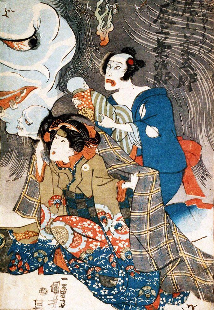 Utagawa Kuniyoshi (歌川 国芳), 1798-1861. Onoe Kikujiro as Oiwa-no-bokon (Ghost of Oiwa), 1836.