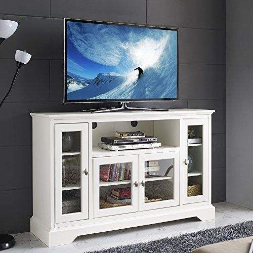 new 52 inch wide white wood highboy television stand home accent furnishings. Black Bedroom Furniture Sets. Home Design Ideas