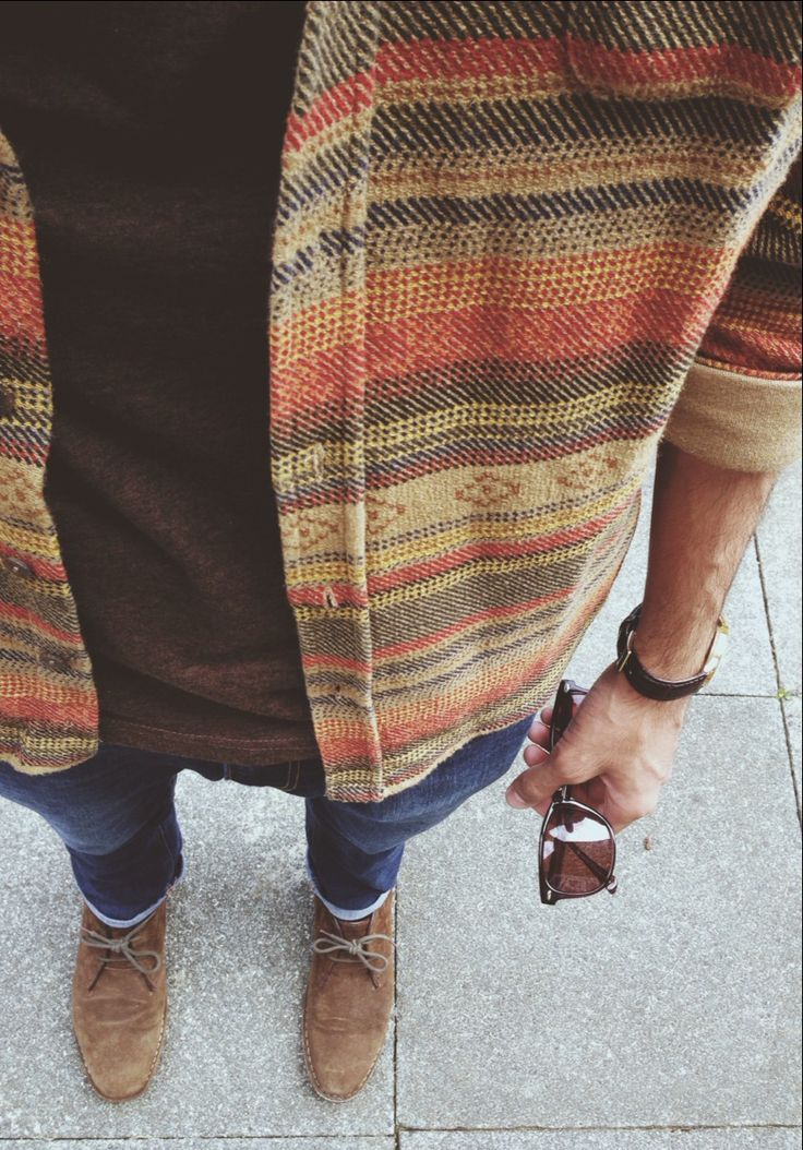 Great cardigan. Buy a vintage patterned shirt (Aztec, Navajo?) and cut the collar off it. Doesn't need to be a snug fit, but must be a very thick material to make it a worthwhile 'cardigan'.