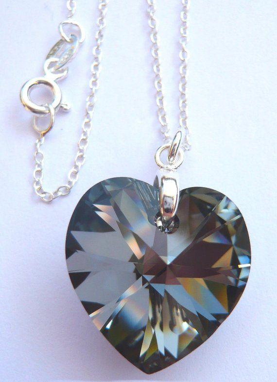 8cea90c48 Sterling Silver Silver Night dark grey black 18mm wide Crystal Heart ...