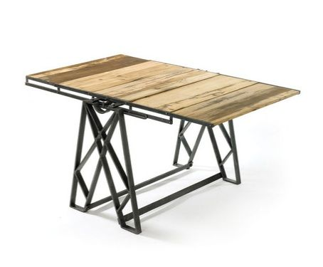 TABLE Bookshelf Desk Dining Converts Factory Iron Amp Recycled Wood New Ships Free