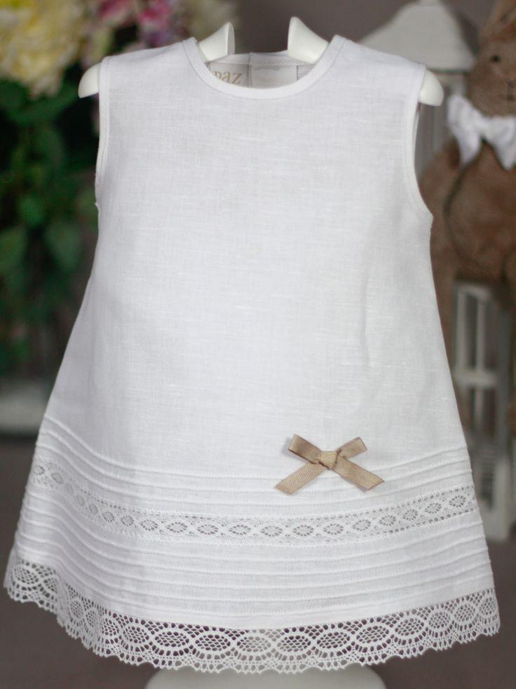 Vestido lino blanco con encajes Paz Rodriguez de Bebe | Les Bébés: