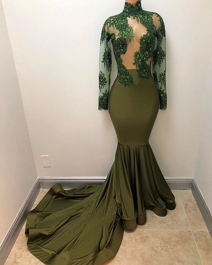 Grass Green African Style Evening Dresses 2017 Crystals