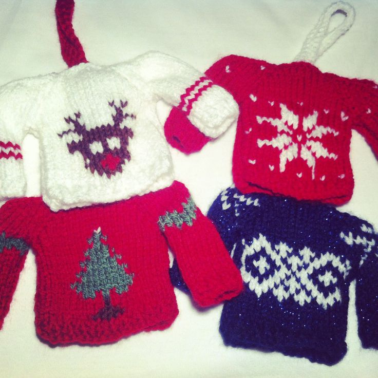 Knitting Pattern Christmas Jumper : Mini Knitted Christmas Jumpers Tree Decorations. These are my own made up pat...
