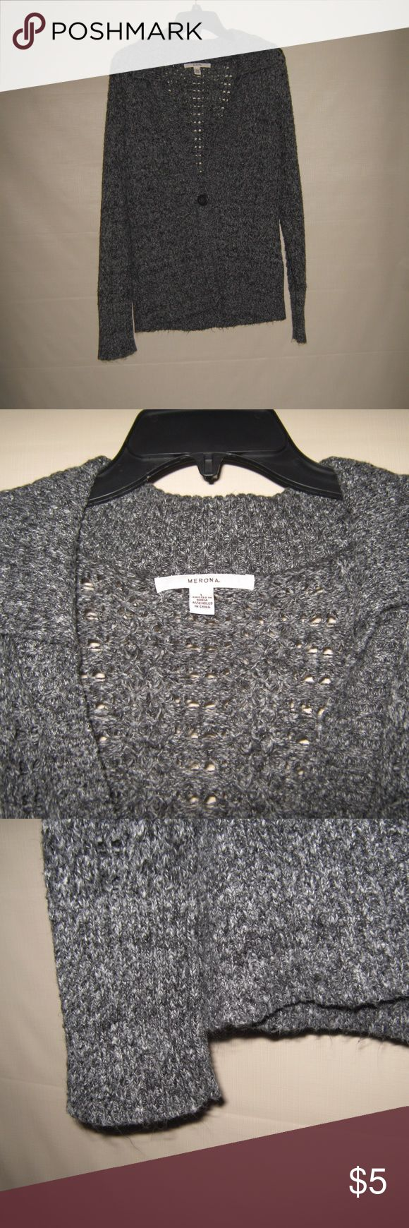 Merona Marled Boyfriend Collared Cardigan Size L. Collar, open-knit pattern and single button closure. Fuzzy texture from wash. Super comfortable, slightly oversized fit. Smoke free, pet free home, offers and bundle offers welcome. Merona Sweaters Cardigans