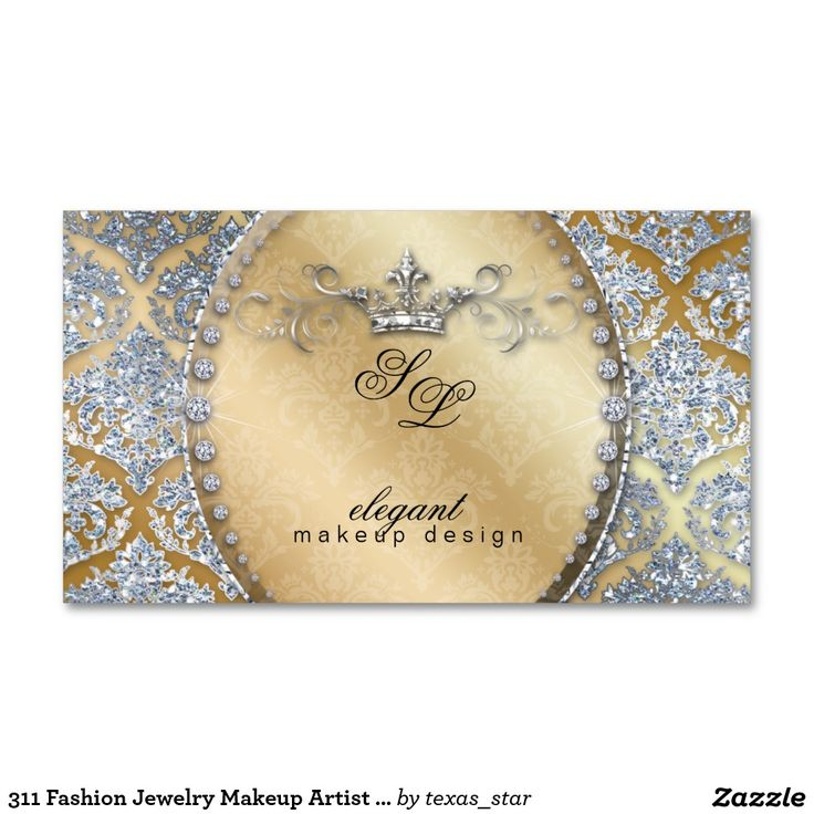 311 Fashion Jewelry Makeup Artist Damask Crown Coo Double-Sided Standard Business Cards (Pack Of 100)