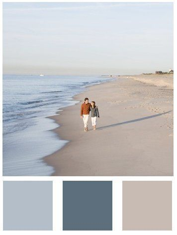 Beach Colors: Sherwin Williams Rain, Refuge and Sand Dune #trendy paint color