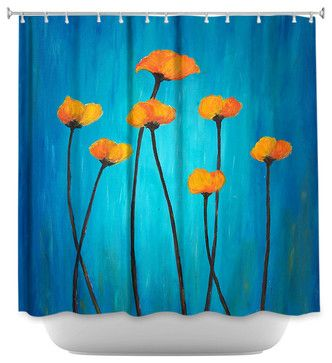 Shower Curtain Artistic Eternal Poppies - contemporary - Shower Curtains - DiaNoche Designs