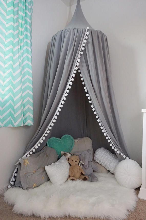This is an overall BETTER play canopy comparing with the others on the market ? Better ... & Pompom Play canopy in silver cotton / hanging tent/ hanging canopy ...
