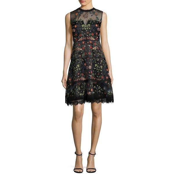 Elie Tahari Maritza Embroidered Organza Dress (8.155.155 VND) ❤ liked on Polyvore featuring dresses, v back dress, elie tahari dresses, floral embroidery dress, scalloped hem dress and lined dress