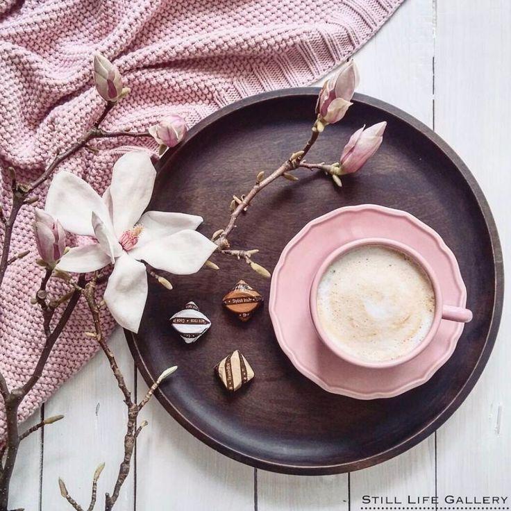 Pink pastel coffee flatlay