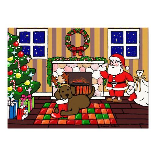 """Whimsy en de leuke die cartoon van de Labrador door Naomi Ochiai van Japan wordt gecre?ërd. Grote pretgiften voor hondenliefhebbers die van de honden van de Labrador houden!  Dit is het comfortabele huis van de Kerstman in de berg.  OMG!!  Zijn Chocolade Labrador kauwt de laars van zijn papa.  De grappige en capricieuze scène van Kerstmis voor vakantieseizoenen.  U kunt tekst en meer aanpassen! <br> <a href=""""http://www.zazzle.com/happylabradors/gifts?cg=196811834152819739""""><img ..."""