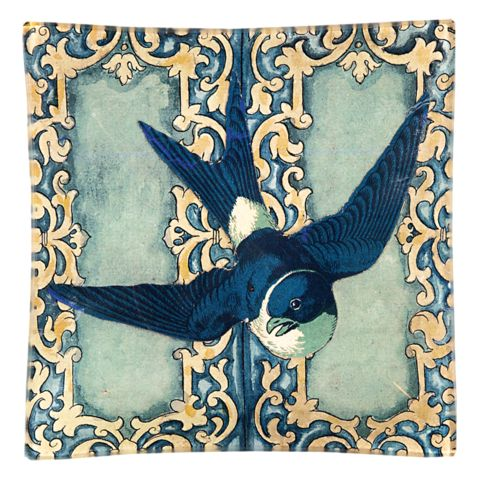 // Lovely blue swallow tile, in sapphire blue, ivory and washed out blue. By John Derian Company Inc.