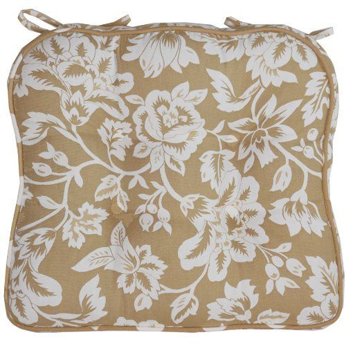 Tan Floral Tie Back Chair Cushion Pad By Sweet Pea Linens. $16.00. 100